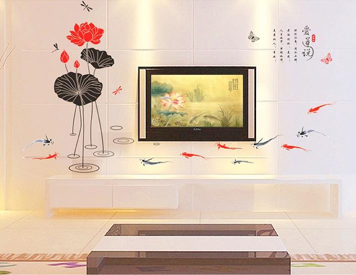 【壁貼王國】中國風系列無痕壁貼 《愛蓮說 - AY896》