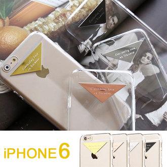 APPLE Iphone6 4.7吋 超薄透明殼 質感金屬標 純系列 手機殼 矽膠套【A609247】