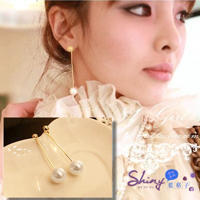 【02A38】shiny藍格子-OL氣質鍍金水滴吊墜長款大珍珠耳環