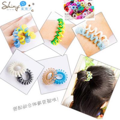 【30A30】shiny藍格子-彩色艷陽.熱賣款糖果色電話線造型髮圈