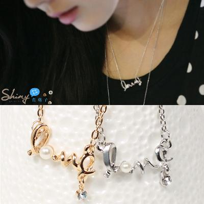 【50A41】shiny藍格子-微甜幸福.輕輕繞出心中的愛LOVE項鍊。金/銀