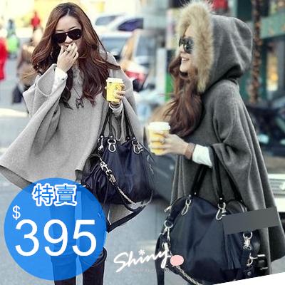 【7348】shiny藍格子-韓式作風.毛領連帽斗篷式毛呢罩衫外套