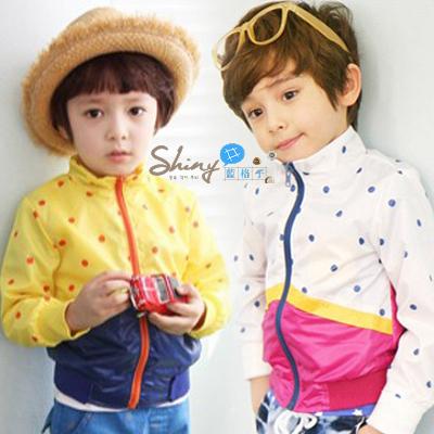 【R0627】shiny藍格子-嬰幼館.男/女童點點拼色防晒風衣外套