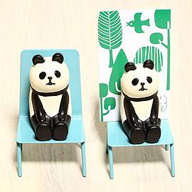 日本Decole名片座-藍椅熊貓
