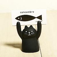 日本進口可愛小黑貓舉手名片夾「Out」