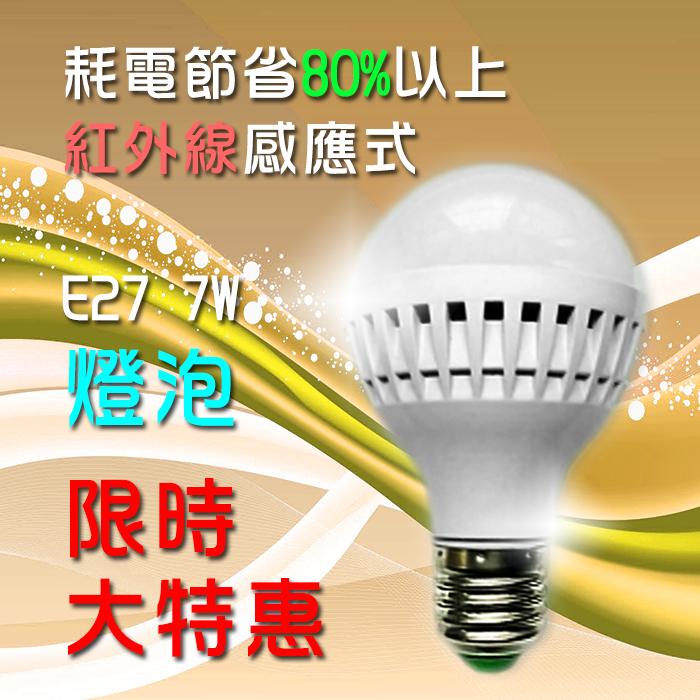 ✪ 精匠百貨商城 ✪ LED 雷達微波感應式 E27 7W 安全節能 燈泡/球泡燈    緊急照明燈 展示燈 夜燈 裝飾燈 吊燈