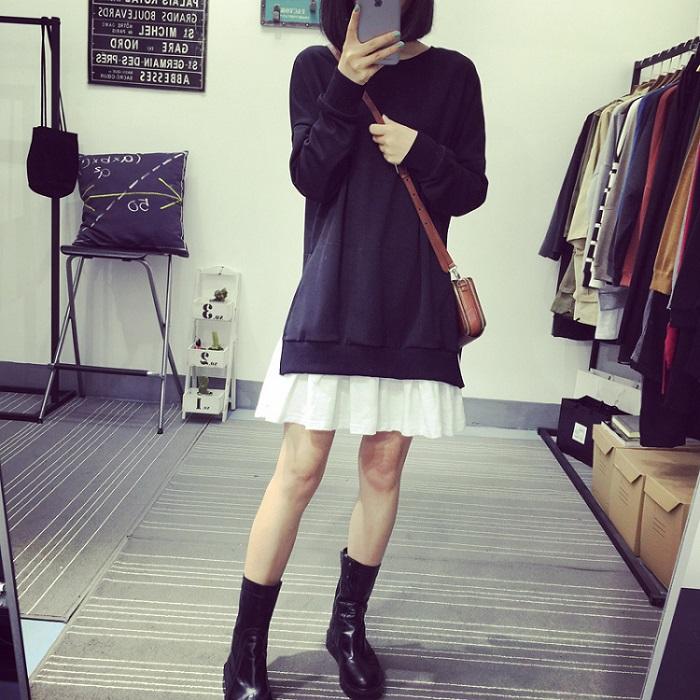 PS Mall 秋裝休閒裙擺式圓領長袖衛衣連身裙 洋裝【T2758】