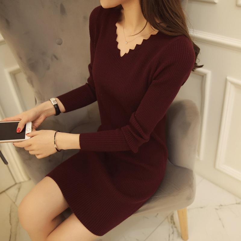 PS Mall 中長版針織衫長袖套頭毛衣連身裙 洋裝【T2843】