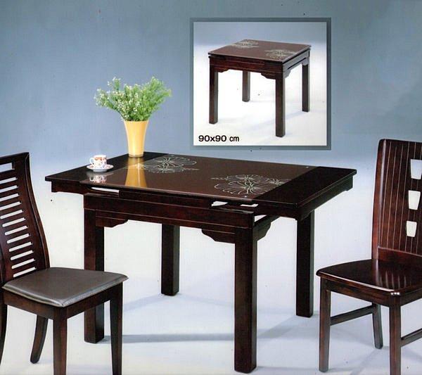 【尚品傢俱】419-19 平卉胡桃強化玻璃方型摺合餐桌~不含椅~另有石面可選《台中多區免運》