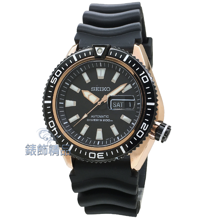 【錶飾精品】SEIKO 精工錶 手自動機械錶 SRP500K1 夜光 黑玫金框 膠帶運動款200米潛水男錶 全新正品