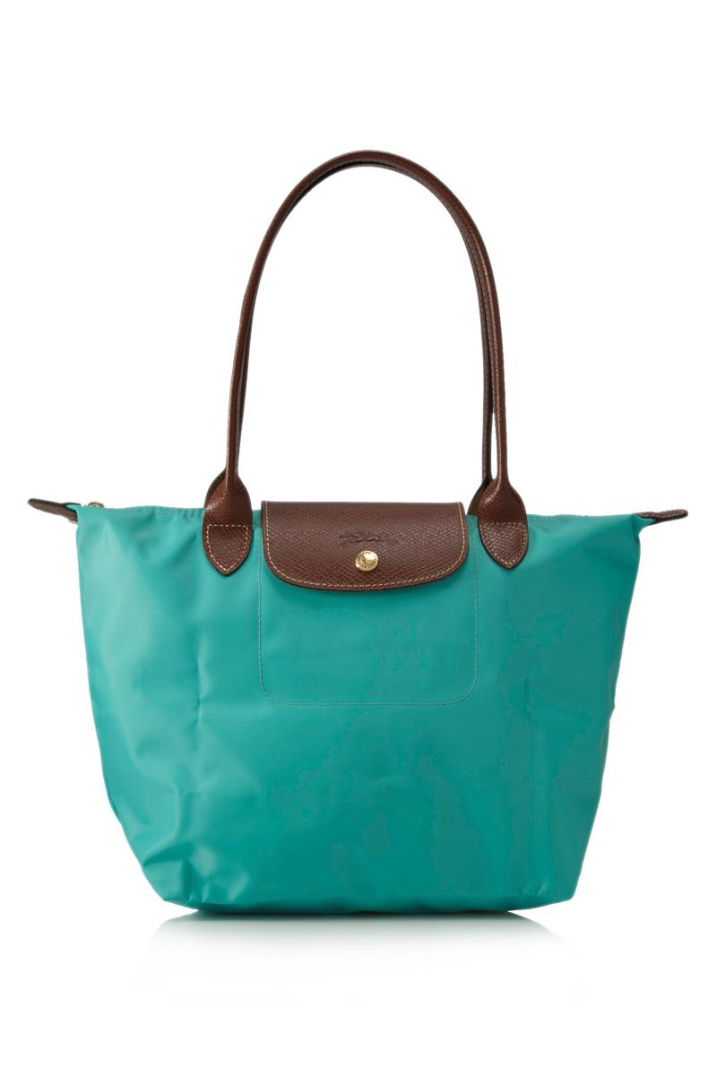 [2605-S號]國外Outlet代購正品 法國巴黎 Longchamp  長柄 購物袋防水尼龍手提肩背水餃包 湖水藍