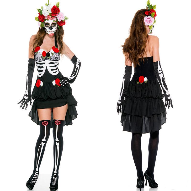 鬼新娘派對製服骷摟頭黑紗裙吸血鬼惡魔萬聖節服裝halloween