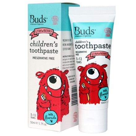 【悅兒園婦幼生活館】Buds 芽芽有機 兒童含氟牙膏-草莓50ml (3-12歲)