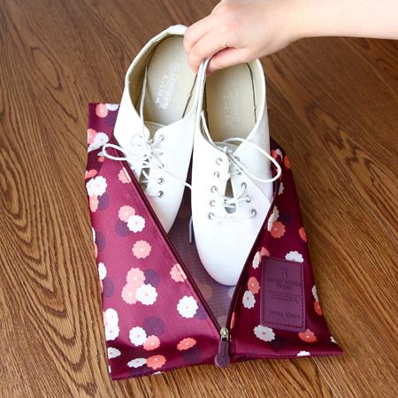 韓版 印花旅行鞋子收納袋 貼身衣物 手提式 防水 整理 行李 出國 分類袋【N201851】