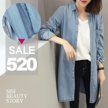 SISI【L6057】韓版丹寧時尚寬鬆顯瘦翻領中長款長袖牛仔襯衫上衣開襟丹寧牛仔罩衫外套