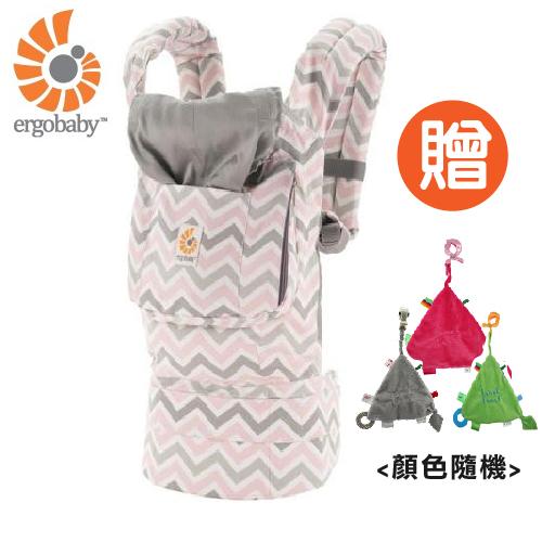 【 贈三角固齒安撫巾 】美國【 Ergobaby 】原創基本款嬰兒揹巾-粉灰齒紋