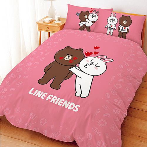 【享夢城堡】LINE FRIENDS KISS啾咪系列-雙人四件式床包兩用被組