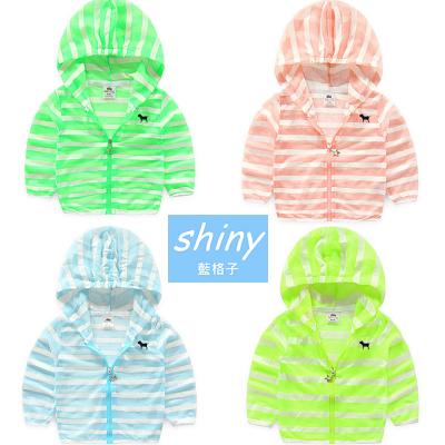 【R6187A】shiny藍格子-嬰幼館.2016男女童條紋防曬連帽外套