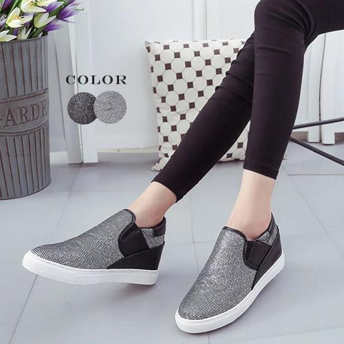 休閒鞋-BingBing亮片厚底增高休閒懶人鞋