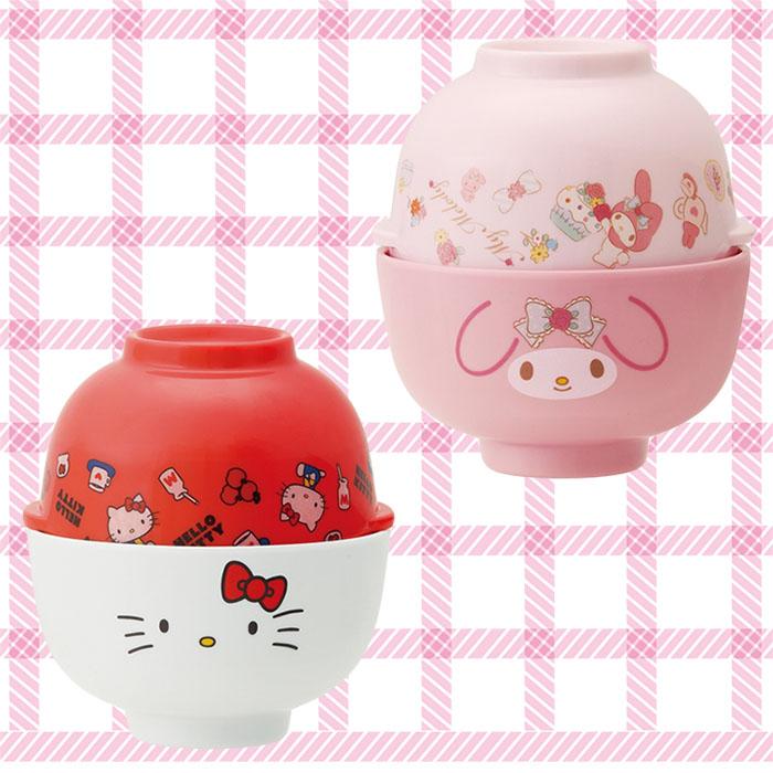 大田倉 日本進口正版商品 凱蒂貓 Kitty 美樂蒂 Melody 美耐皿 湯碗茶碗組 湯蓋 飯碗 319860