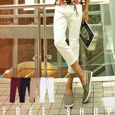 Free Shop【AM1316】韓版彈力布料完美修身剪裁窄版素面休閒七分褲 ‧四色 現+ 預