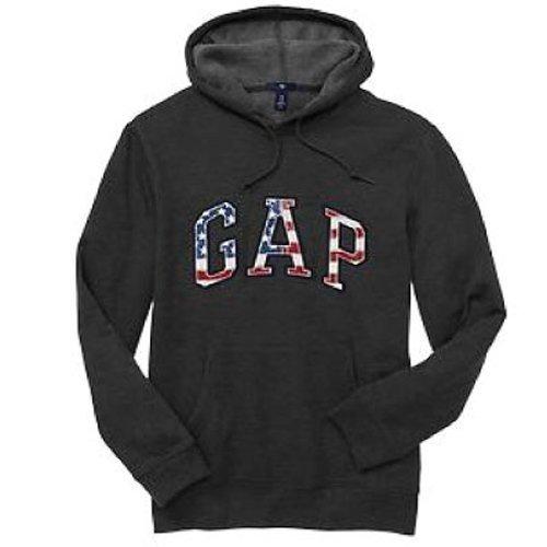 【蟹老闆】GAP【現貨】美國 GAP 經典文字LOGO款 男生 深灰國旗 長袖帽T