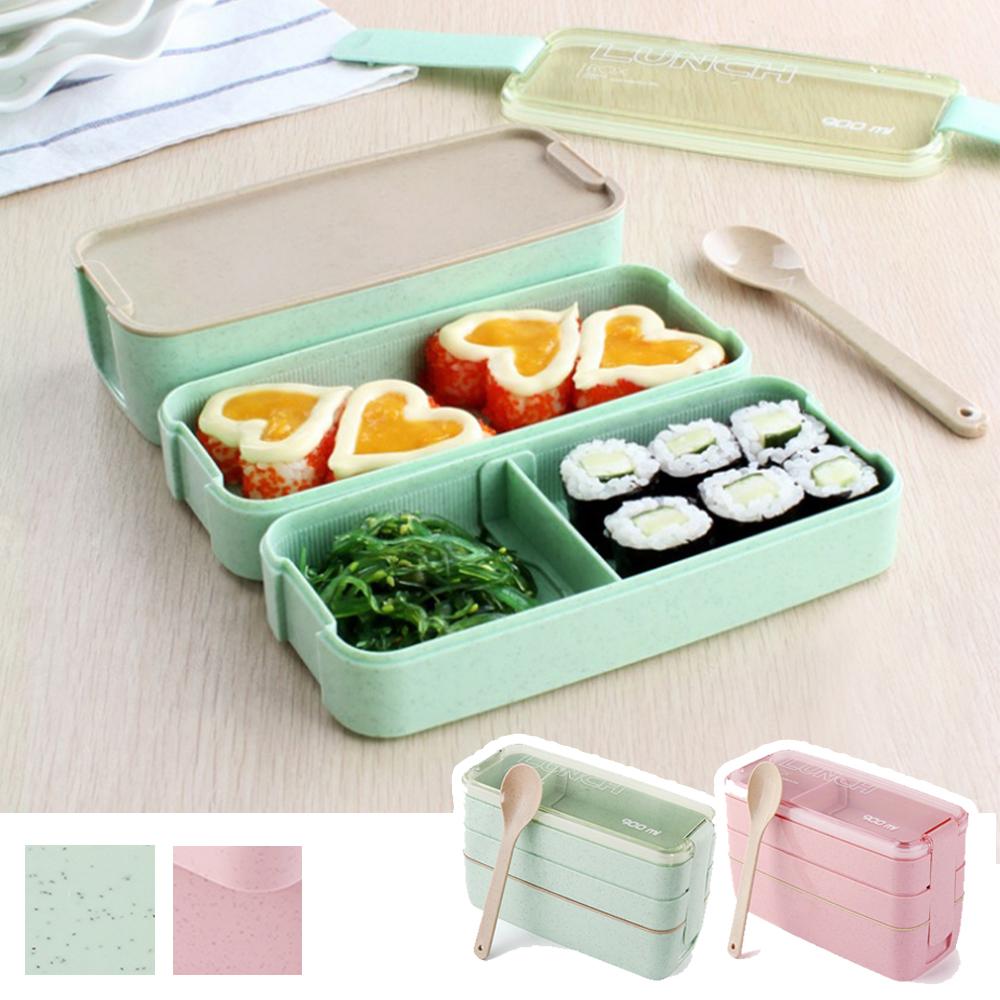 代購現貨 日式小麥元素三層分隔餐盒-可微波 IF9194