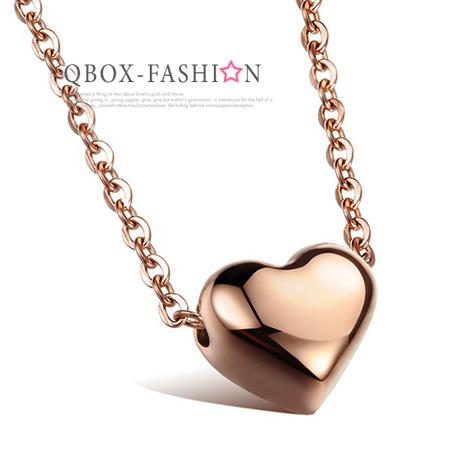 《 QBOX 》FASHION 飾品【W2015N985】精緻秀氣小巧愛心玫瑰K金316L鈦鋼墬子項鍊