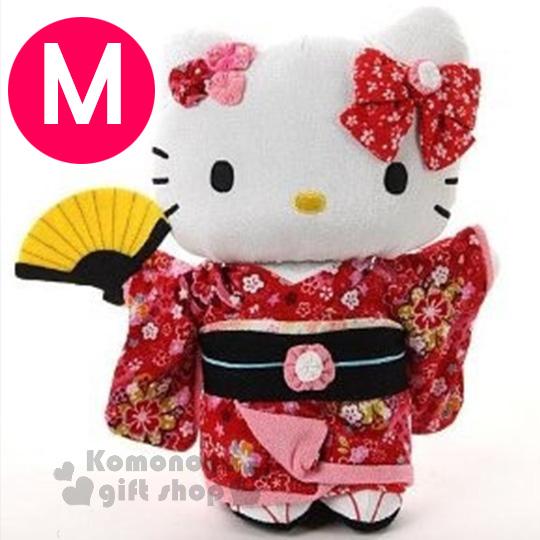 〔小禮堂〕Hello Kitty 造型絨毛玩偶娃娃《M.站姿.紅和服.拿扇》葉朗彩彩