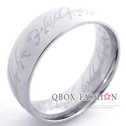 《 QBOX 》FASHION 飾品【W10021144】精緻個性魔戒經文316L鈦鋼戒指/戒環(銀)