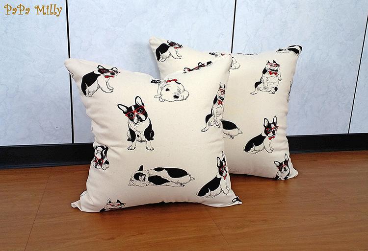 米粒爸爸@50x50白色鬥牛犬抱枕套 靠枕套 亞麻 任何尺寸皆可訂做