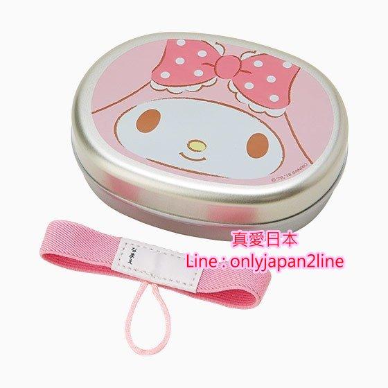 【真愛日本】16102400002   日本製不鏽鋼鐵盒附束帶-MM大臉粉  三麗鷗家族 Melody 美樂蒂    餐盒 餐具
