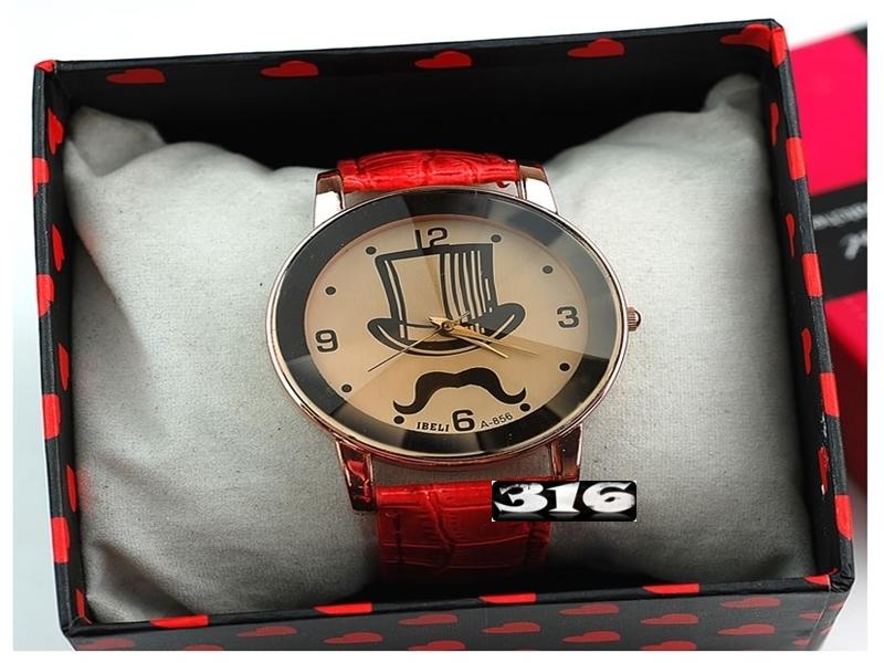 《316小舖》【PG28】(時尚石英手錶-可愛胡子造型手錶-單件價 /男性手錶/女性手錶/生日禮物/聖誕節禮物/耶誕節禮物/男女手錶)