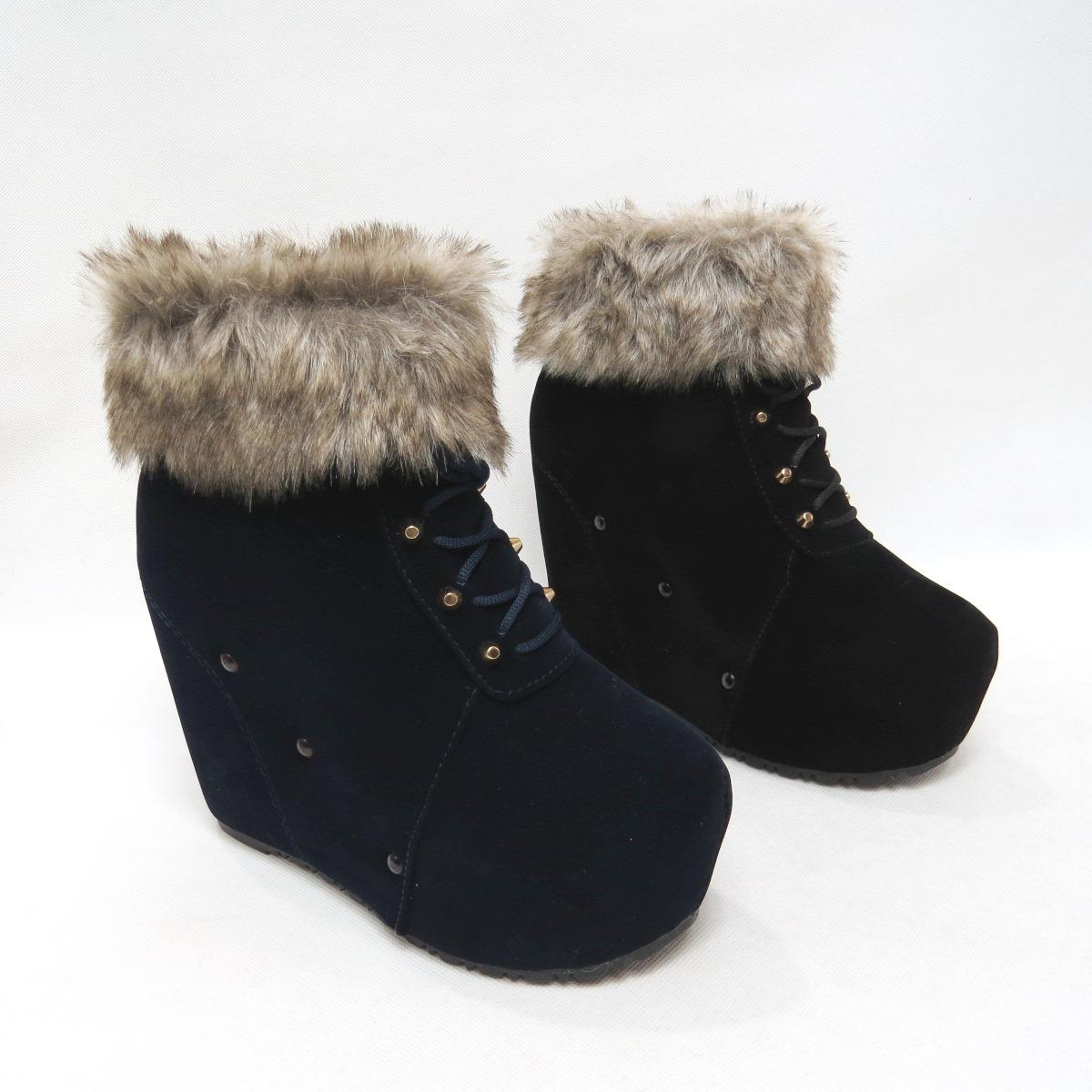 *免運*韓風奢華毛料高跟楔型包鞋短靴踝靴15-J259(黑/藍)*[彩虹屋]* 現+預