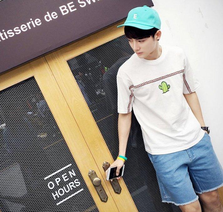 【JP.美日韓】韓國 仙人掌 短袖 刺繡 上衣 刺青 短袖 男 粉色上衣 可愛上市 夏天穿搭男