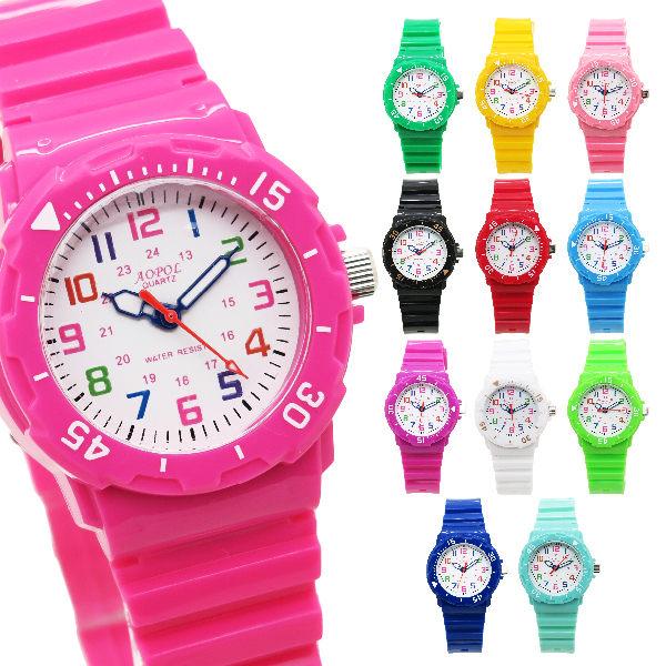 《好時光》AOPOL 小錶徑 馬卡龍 夢幻糖果色 可旋轉數字框 防水 清晰彩色數字兒童錶 (大女孩OK)