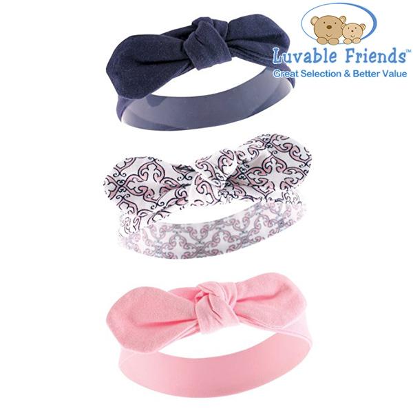 美國 Hudson Baby/Luvable Friends 嬰幼用品 嬰兒髮帶/寶寶髮帶 (3件組) - 粉紅色