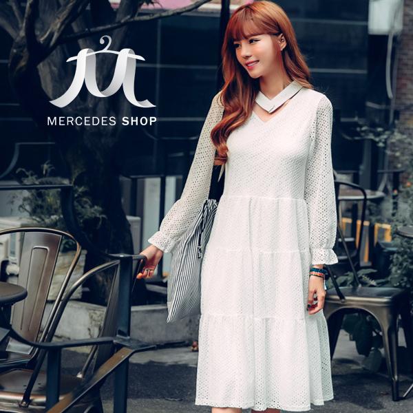 [全店7折] 白色小清新造型領圍中長款長袖洋裝-S-XL - 梅西蒂絲