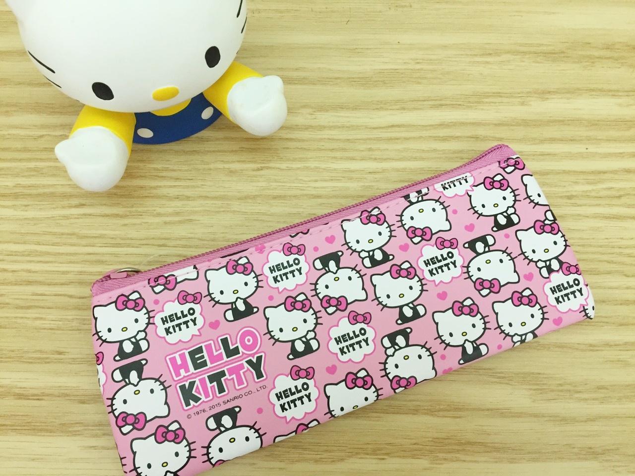 【真愛日本】  15100900029 皮革小筆袋-滿版愛心粉 KITTY 凱蒂貓 三麗鷗 文具用品 鉛筆盒 收納
