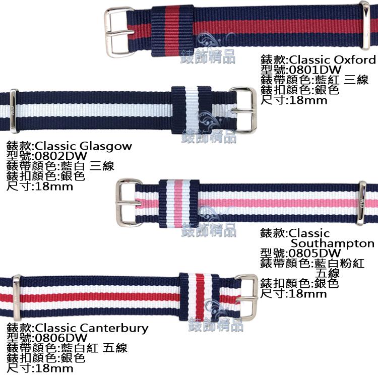 【錶飾精品】現貨 原廠 瑞典 DW錶帶 帆布 尼龍 18mm 銀色 0801 0802 0805 0806