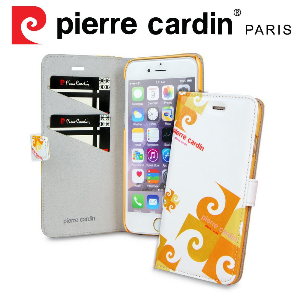 [ iPhone SE/5/5S ] Pierre Cardin法國皮爾卡登4吋玩趣LOGO書本側翻式手機套/保護套/皮套 橙色