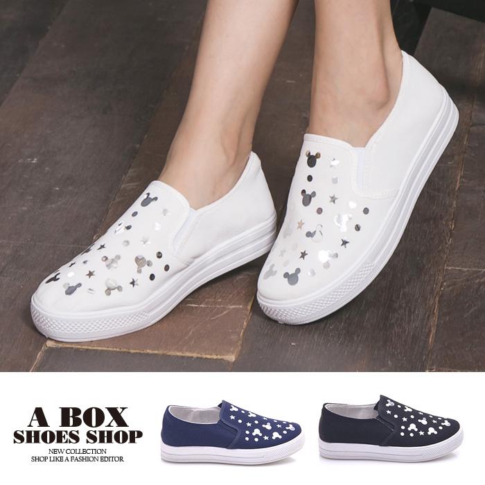 格子舖*【AW520】百搭日系可愛米奇星星圖案 鬆緊穿拖 懶人鞋 帆布鞋 布面鞋 3色