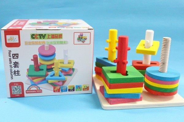 木製益智四套柱配對 YF8399 幾何形狀 兒童啟蒙益智玩具/一盒入{促199}