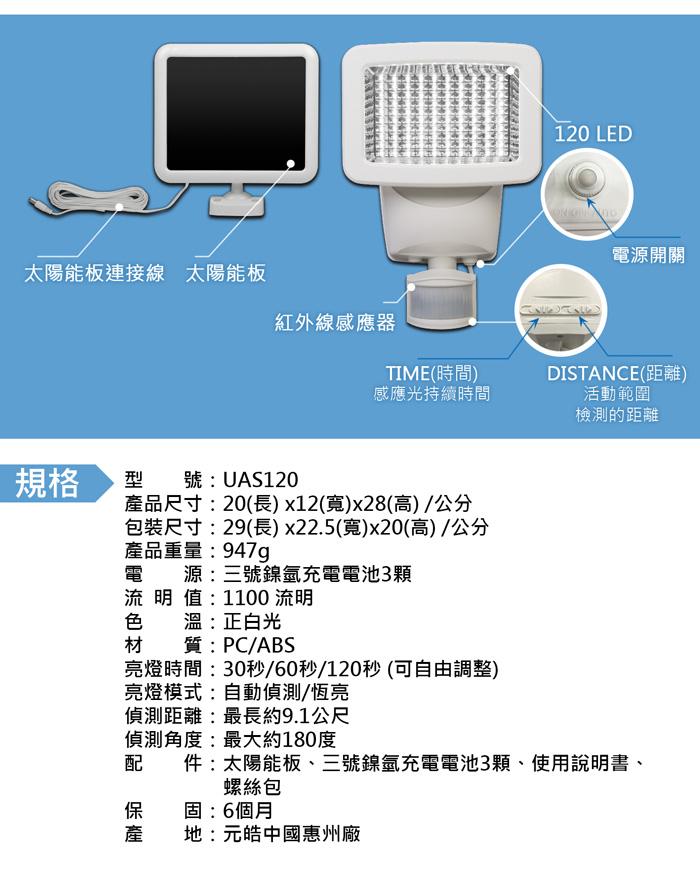 AUTOMAXX太陽能感應照明燈UA-S120網頁 產品規格