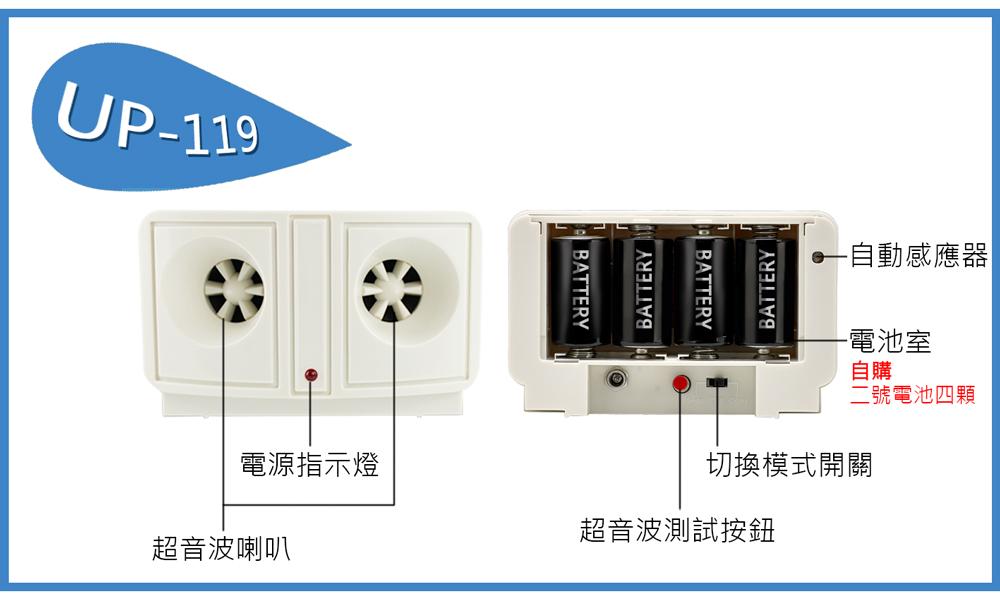 UP-119,夾層清潔專家,超音波驅鼠器,驅鼠