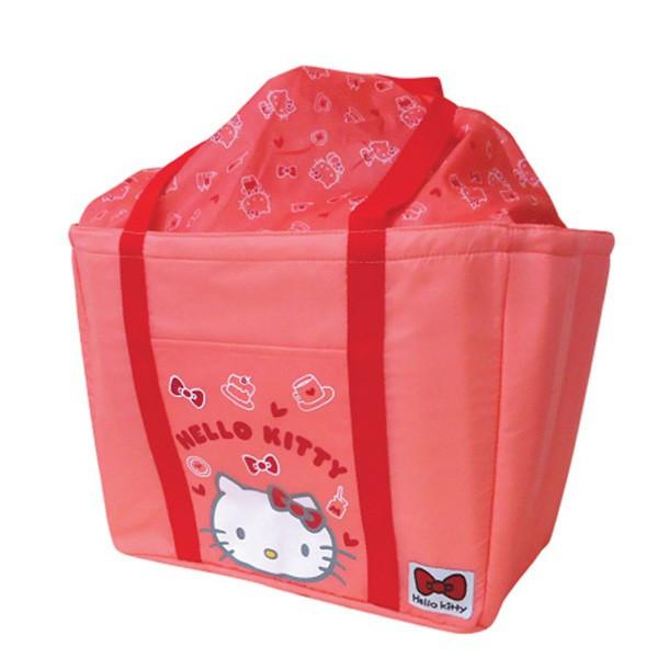 【真愛日本】16050300005保冷可折束口購物籃袋-KT大臉紅   三麗鷗Hello Kitty凱蒂貓 旅行袋 收納袋