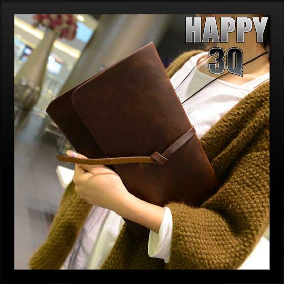 歐美風OL上班族復古皮質綁帶信封手拿包文件包-黑/咖【AAA0456】