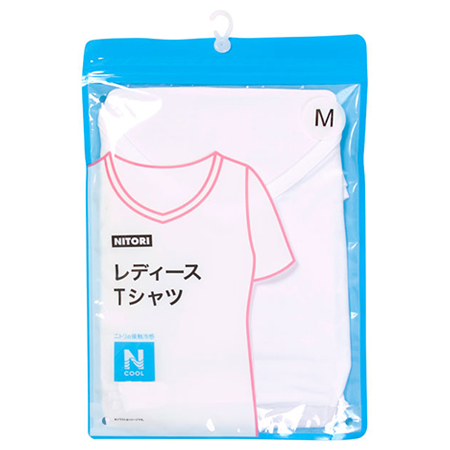 接觸涼感 女士V領T恤 N COOL WH/M