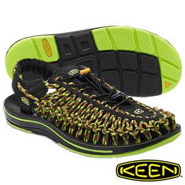 Keen Uneek 男 輕量護趾編織款拉繩涼鞋 黑/彩色 1013889