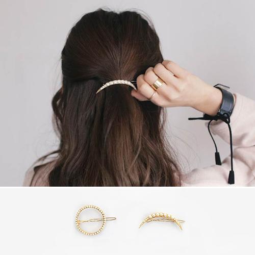 髮飾-髮夾 珠珠圓形月牙個性髮夾髮飾【TSFJ59】 BOBI  05/19